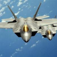 U.S. Air Force handout photo of two F-22 stealth fighters